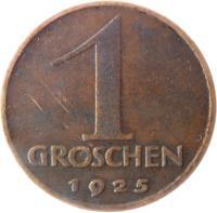 reverse of 1 Groschen (1925 - 1938) coin with KM# 2836 from Austria. Inscription: 1 GROSCHEN 1925