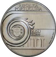 obverse of 2.5 Euro - João Villaret (2013) coin with KM# 853 from Portugal. Inscription: REPÚBLICA PORTUGUESA 2,50 EURO INCM-BAIBA SIME