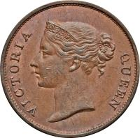 obverse of 1 Cent - Victoria (1845) coin with KM# 3 from Straits Settlements. Inscription: VICTORIA QUEEN