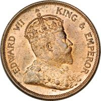 obverse of 1 Cent - Edward VII (1903 - 1908) coin with KM# 19 from Straits Settlements. Inscription: EDWARD VII KING & EMPEROR