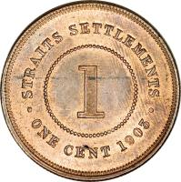 reverse of 1 Cent - Edward VII (1903 - 1908) coin with KM# 19 from Straits Settlements. Inscription: · STRAITS SETTLEMENTS · 1 ONE CENT 1903