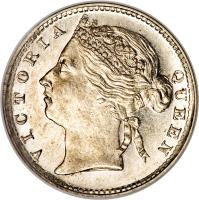 obverse of 10 Cents - Victoria (1871 - 1901) coin with KM# 11 from Straits Settlements. Inscription: VICTORIA QUEEN