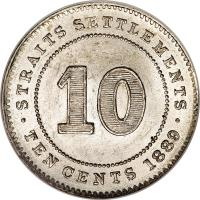 reverse of 10 Cents - Victoria (1871 - 1901) coin with KM# 11 from Straits Settlements. Inscription: STRAITS SETTLEMENTS 10 · TEN CENTS 1893 ·