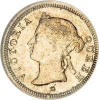 obverse of 5 Cents - Victoria (1871 - 1901) coin with KM# 10 from Straits Settlements. Inscription: VICTORIA QUEEN