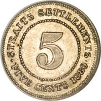 reverse of 5 Cents - Victoria (1871 - 1901) coin with KM# 10 from Straits Settlements. Inscription: STRAITS SETTLEMENTS 5 · FIVE CENTS 1900 ·