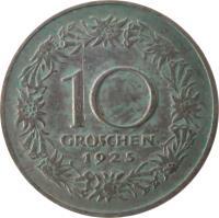 reverse of 10 Groschen (1925 - 1929) coin with KM# 2838 from Austria. Inscription: 10 GROSCHEN 1925