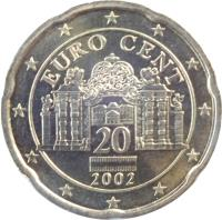 obverse of 20 Euro Cent - 1'st Map (2002 - 2007) coin with KM# 3086 from Austria. Inscription: EURO CENT 20 2002