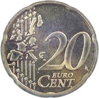 reverse of 20 Euro Cent - 1'st Map (2002 - 2007) coin with KM# 3086 from Austria. Inscription: 20 EURO CENT LL