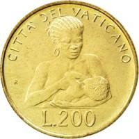 reverse of 200 Lire - John Paul II (1992) coin with KM# 240 from Vatican City. Inscription: CITTA' DEL VATICANO L.200
