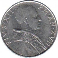 obverse of 50 Lire - Pius XII (1955 - 1958) coin with KM# 54 from Vatican City. Inscription: PIVS.XII P.M.AN.XVII