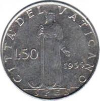 reverse of 50 Lire - Pius XII (1955 - 1958) coin with KM# 54 from Vatican City. Inscription: CITTA' DEL VATICANO L.50 1955 SPES
