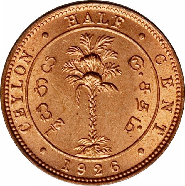 1 COIN KM# 106 Ceylon George V Copper 1926 1//2 Cent UNC Condition RANDOM PICK