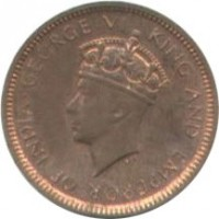 obverse of 1/2 Cent - George VI (1937 - 1940) coin with KM# 110 from Ceylon. Inscription: GEORGE VI KING AND EMPEROR OF INDIA