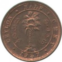 reverse of 1/2 Cent - George VI (1937 - 1940) coin with KM# 110 from Ceylon. Inscription: CEYLON · HALF · CENT · 1937 ·