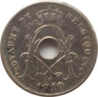 obverse of 5 Centimes - Albert I - French text (1910 - 1932) coin with KM# 66 from Belgium. Inscription: ROYAUME DE BELGIQUE ** 1910