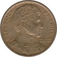 obverse of 5 Pesos (1990 - 1992) coin with KM# 229 from Chile. Inscription: REPUBLICA DE CHILE So LIBERTADOR B. O'HIGGINS R.THENOT