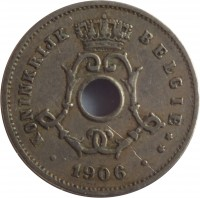 obverse of 5 Centimes - Leopold II - Dutch text; Large date (1904 - 1907) coin with KM# 55 from Belgium. Inscription: KONINKRIJK BELGIË ** 1906