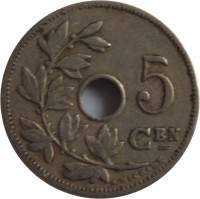 reverse of 5 Centimes - Leopold II - Dutch text; Large date (1904 - 1907) coin with KM# 55 from Belgium. Inscription: 5 CEN A. MICHAUX