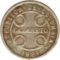 obverse of 2 Centavos - Leprosarium Coinage (1921) coin with KM# L10 from Colombia. Inscription: REPUBLICA DE COLOMBIA LAZARETO * 1921 *