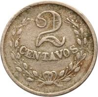 reverse of 2 Centavos - Leprosarium Coinage (1921) coin with KM# L10 from Colombia. Inscription: 2 CENTAVOS