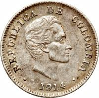 obverse of 10 Centavos (1911 - 1942) coin with KM# 196 from Colombia. Inscription: REPUBLICA DE COLOMBIA 1914