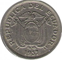 obverse of 5 Centavos (1937) coin with KM# 75 from Ecuador. Inscription: REPUBLICA DEL ECUADOR 1937