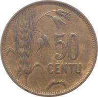 reverse of 50 Centų (1925) coin with KM# 75 from Lithuania. Inscription: 50 CENTŲ