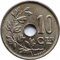 reverse of 10 Centimes - Albert I - Dutch text (1920 - 1930) coin with KM# 86 from Belgium. Inscription: 10 CEN A. MICHAUX