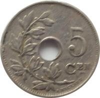 reverse of 5 Centimes - Albert I - Dutch text (1910 - 1931) coin with KM# 67 from Belgium. Inscription: 5 CEN A. MICHAUX