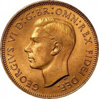 obverse of 1/2 Penny - George VI - Without IND:IMP (1949 - 1952) coin with KM# 42 from Australia. Inscription: GEORGIVS VI D:G:BR:OMN:REX FIDEI DEF.