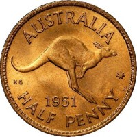 reverse of 1/2 Penny - George VI - Without IND:IMP (1949 - 1952) coin with KM# 42 from Australia. Inscription: AUSTRALIA KG 1951 HALF PENNY *