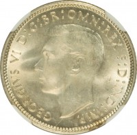 obverse of 6 Pence - George VI (1946 - 1948) coin with KM# 38a from Australia. Inscription: GEORGIVS VI D:G:BR:OMN:REX F:D:IND:IMP. HP