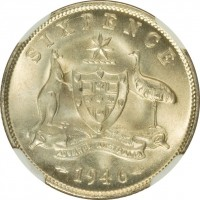reverse of 6 Pence - George VI (1946 - 1948) coin with KM# 38a from Australia. Inscription: SIXPENCE ADVANCE AUSTRALIA 1946