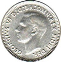 obverse of 3 Pence - George VI - Without IND:IMP (1949 - 1952) coin with KM# 44 from Australia. Inscription: GEORGIVS VI D:G:BR:OMN:REX FIDEI DEF.