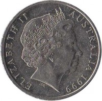obverse of 20 Cents - Elizabeth II (1999 - 2015) coin with KM# 403 from Australia. Inscription: ELIZABETH II AUSTRALIA 2001 IRB