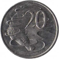 reverse of 20 Cents - Elizabeth II (1999 - 2015) coin with KM# 403 from Australia. Inscription: 20 SD