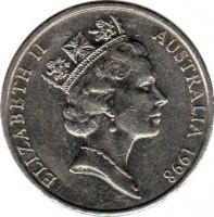 obverse of 20 Cents - Elizabeth II (1985 - 1998) coin with KM# 82 from Australia. Inscription: ELIZABETH II AUSTRALIA 1998 RDM