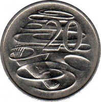 reverse of 20 Cents - Elizabeth II (1985 - 1998) coin with KM# 82 from Australia. Inscription: 20 SD