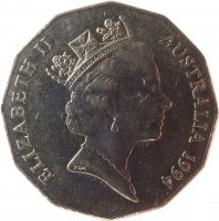 obverse of 50 Cents - Elizabeth II - Year of the Family (1994) coin with KM# 257 from Australia. Inscription: ELIZABETH II AUSTRALIA 1994 RDM