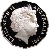obverse of 50 Cents - Elizabeth II - Federation (2001) coin with KM# 491 from Australia. Inscription: ELIZABETH II AUSTRALIA 2001 IRB