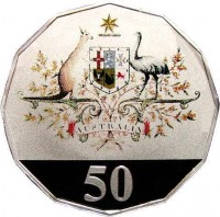 reverse of 50 Cents - Elizabeth II - Federation (2001) coin with KM# 491 from Australia. Inscription: AUSTRALIA 50