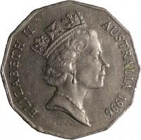 obverse of 50 Cents - Elizabeth II (1985 - 1997) coin with KM# 83 from Australia. Inscription: ELIZABETH II AUSTRALIA 1996 RDM