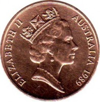 obverse of 2 Cents - Elizabeth II (1985 - 1991) coin with KM# 79 from Australia. Inscription: ELIZABETH II AUSTRALIA 1989 RDM