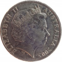 obverse of 20 Cents - Elizabeth II - World War II (2005) coin with KM# 745 from Australia. Inscription: ELIZABETH II AUSTRALIA 2005 IRB