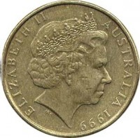 obverse of 1 Dollar - Elizabeth II - Year of Older Persons - 4'th Portrait (1999) coin with KM# 405 from Australia. Inscription: ELIZABETH II AUSTRALIA 1999 IRB