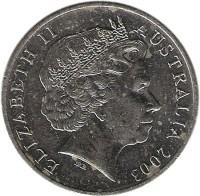 obverse of 20 Cents - Elizabeth II - Volunteers (2003) coin with KM# 688 from Australia. Inscription: ELIZABETH II AUSTRALIA 2003 IRB