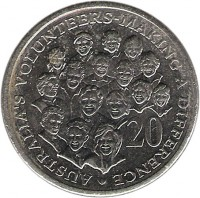 reverse of 20 Cents - Elizabeth II - Volunteers (2003) coin with KM# 688 from Australia. Inscription: AUSTRALIA'S VOLUNTEERS · MAKING A DIFFERENCE · 20