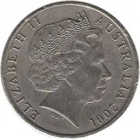 obverse of 20 Cents - Elizabeth II - Sir Donald Bradman (2001) coin with KM# 589 from Australia. Inscription: ELIZABETH II AUSTRALIA 2001 IRB