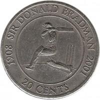 reverse of 20 Cents - Elizabeth II - Sir Donald Bradman (2001) coin with KM# 589 from Australia. Inscription: 1908 SIR DONALD BRADMAN 2001 20 CENTS