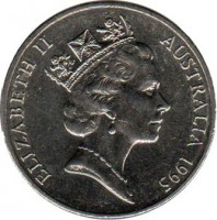 obverse of 20 Cents - Elizabeth II - United Nations (1995) coin with KM# 295 from Australia. Inscription: ELIZABETH II AUSTRALIA 1995 RDM
